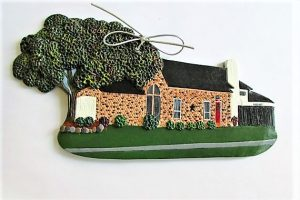 Garden art and Moore polymer clay house ornament