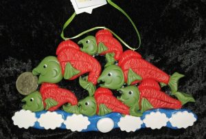 Salmon polymer clay christmas ornament