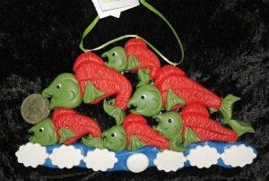 Salmon polymer clay christmas ornament