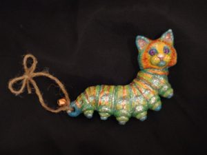 Cloverfield Creationz  Polymer clay caterpillar ornament