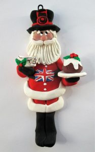 British polmyer clay Santa Claus Christmas ornament